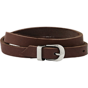 Chisel Men's Stainless Steel Brown Leather Wrap Bracelet
