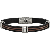Chisel Men's Stainless Steel Polished Black and Brown Leather  Bracelet