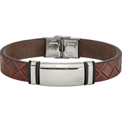 Chisel Men's Stainless Steel Polished Brown Faux Leather w/Black Rubber ID Bracelet