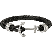 Chisel Men's Stainless Steel Polished Black Braided Leather Anchor Bracelet