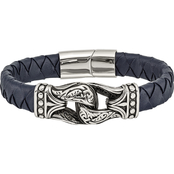 Chisel Stainless Steel Antiqued and Polished Blue Leather Bracelet