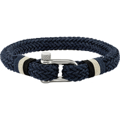 Chisel Stainless Steel Polished Woven Navy Cotton Bracelet