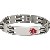 Chisel Stainless Steel and Black Rubber with Red Enamel Medical I.D. Bracelet
