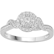Love Honor Cherish 10K White Gold 1/3 CTW Diamond Circle Frame Engagement Ring