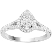Love Honor Cherish 10K White Gold 3/8 CTW Diamond Pear Frame Engagement Ring