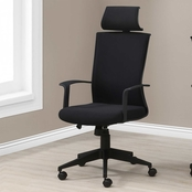 Office Chair - Black - Black Fabric - High Back Executive