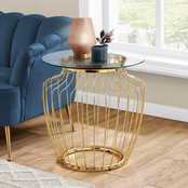 Chelsea Home 24 in. Goldtone Metal Accent Table