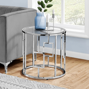 Accent Table - 23H - Chrome Metal With Tempered Glass
