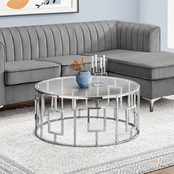 Chelsea Home 36 in. Round Chrome Metal Coffee Table