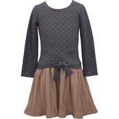 Bonnie Jean Little Girls Foil to Dot Boudre Dress