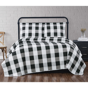 Truly Soft Everyday Black Buffalo Plaid Quilt Set