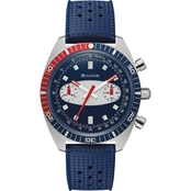Bulova Men's Sea Chronograph Surfboard Blue Strap Watch 98A253