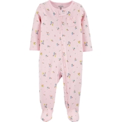 Carter's Infant Girls Floral 2-Way Zip Thermal Sleep and Play