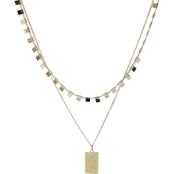 Panacea Goldtone Two Row Tag Necklace
