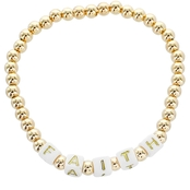 Panacea Goldtone Bead Faith Stretch Bracelet