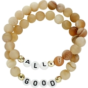 Panacea Lava Stone All Good Word Stretch Bracelet Set