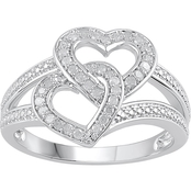 Love Honor Cherish Sterling Silver 1/4 CTW Diamond Dual Heart Ring