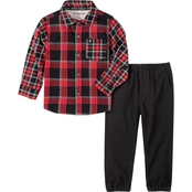 Calvin Klein Toddler Boys Plaid Woven Shirt and Pants 2 pc. Set