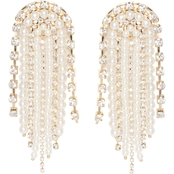 Vince Camuto Goldtone Faux Pearl Rhinestone Fringe Earrings