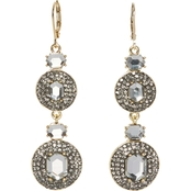 Vince Camuto Goldtone Pave Black Diamond Crystal Double Drop Earrings