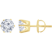 14K 3 CTW Round Solitaire Earrings