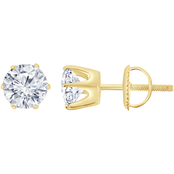 14K 2 CTW Round Solitaire Certified IGI Earrings