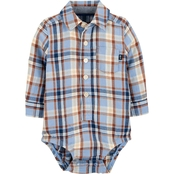 OshKosh B'gosh Infant Boys Plaid Herringbone Button Front Bodysuit