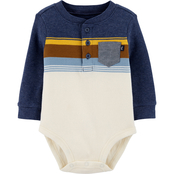 OshKosh B'gosh Infant Boys Striped Thermal Pocket Bodysuit