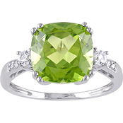 Sofia B. 10K White Gold Peridot, Created White Sapphire and Diamond Accent Ring