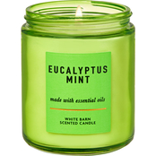 Bath & Body Works White Barn Color Eucalyptus Mint Single Wick Candle
