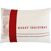 Demdaco Red Stitch Merry Christmas Pillow