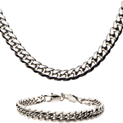 INOX Stainless Steel Cuban Chain and Bracelet Set