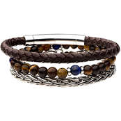 INOX Stainless Steel Men's Wheat Chain Brown Leather Tiger Eye Bead Bracelet Set