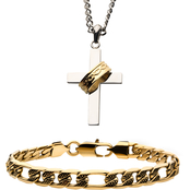 INOX Stainless Steel Men's Cross Pendant and Goldtone Figaro Bracelet Set