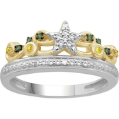She Shines 14K Gold Over Sterling Silver 1/7 CTW Diamond Crown Ring