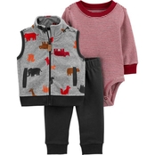 Carter's Infant Boys Animals Vest, Bodysuit and Pants 3 pc. Set