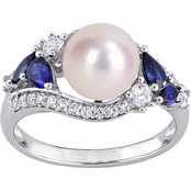 Sofia B. 10K White Gold Cultured Pearl and Created Sapphire Ring