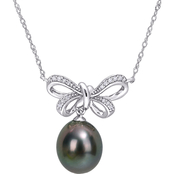 Sofia B. 10K White Gold Tahitian Cultured Pearl and Diamond Accent Bow Necklace