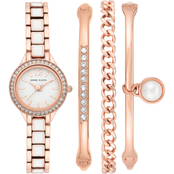 Anne Klein Swarovski Crystal Accented Rose Gold-Tone Watch Set AK/3396WRST