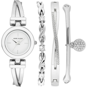 Anne Klein Swarovski Crystal Accented Silver-Tone Bangle Watch Set AK/3576WTST