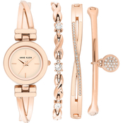 Anne Klein Swarovski Crystal Accented Rose Gold-Tone Bangle Watch Set AK/3576BHST