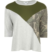 Moa Moa Round Neck Colorblock Top