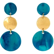 Carol Dauplaise Post Top Triple Disc Drop Earrings