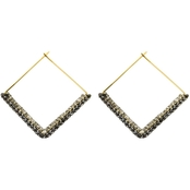 Panacea Crystal Square Hoop Earrings