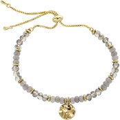 Panacea Crystal Bead Coin Adjustable Bracelet