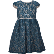 Bonnie Jean Little Girls Teal Lace Dirndl
