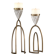 Uttermost Carma Bronze and Crystal Candleholders Set of 2