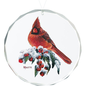 Wild Wings Winter Gems Cardinal Round Beveled Edge Glass Ornament