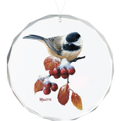 Wild Wings Winter Gems Chickadee Round Beveled Edge Glass Ornament