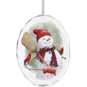 Wild Wings Snowman & Friends Oval Beveled Edge Glass Ornament